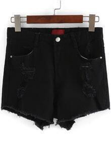 Black High Waist Ripped Denim Shorts