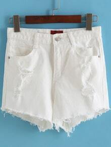 White High Waist Ripped Denim Shorts