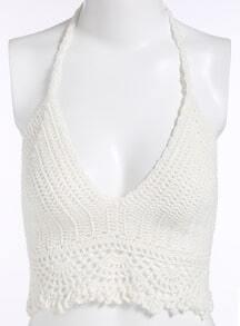 Halter Crochet Hollow Cami Top