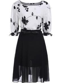 Black White Round Neck Embroidered Top With Chiffon Skirt