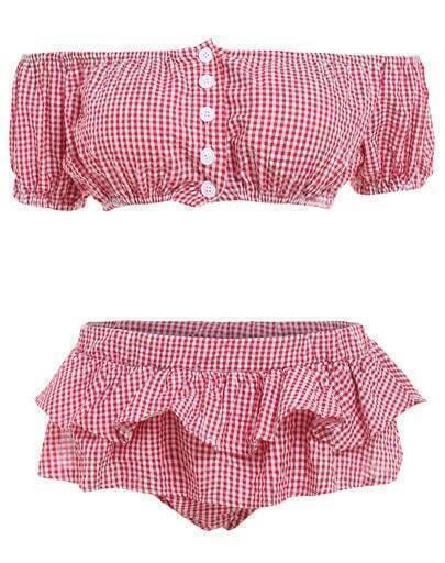 With Buttons Plaid Ruffle Red Bikini Set