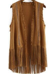 Khaki Sleeveless Tassel Casual Vest