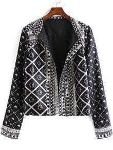 Black White Long Sleeve Geometric Print Crop Jacket
