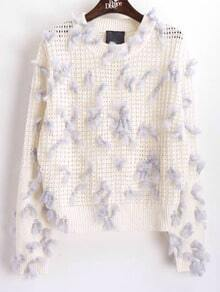 White Round Neck Hollow Fur Embellished Knit Sweater