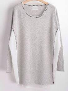 Grey Round Neck Knit Loose Sweater