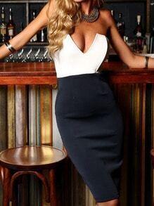 Black White Strapless V Wire Slim Dress