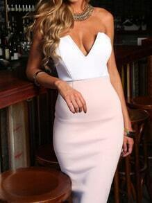 Pink Corseted Strapless V Wire Slim Wiggle Boobtube Dress