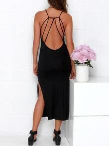 Black Spaghetti Strap Backless Split Dress