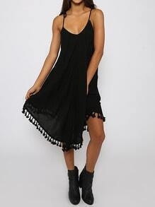 Black Spaghetti Strap Tassel Loose Dress