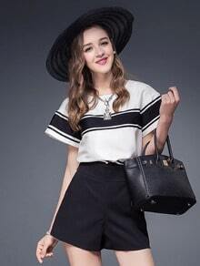 Black White Striped Loose Blouse With Zipper Shorts
