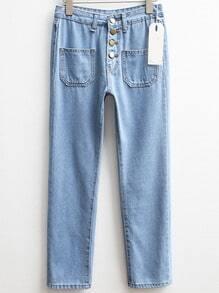 Blue Pockets Buttons Straight Denim Pant