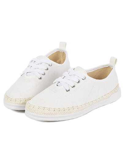 White Weave Trims Shoelace Casual Flats