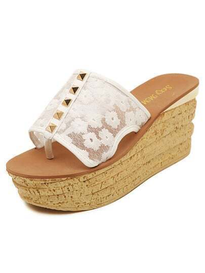White Thick-soled Rivet Lace Sandals