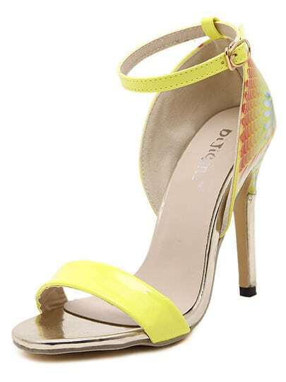 Yellow Ankle Strap Hand-painted Sandals