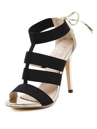 Gold High Heel Bandage Sandals