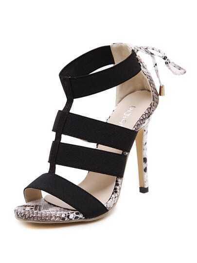 Snakeskin High Heel Bandage Sandals
