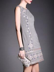 Grey Round Neck Sleeveless Embroidered Dress