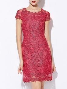 Red Round Neck Short Sleeve Bodycon Lace Dress