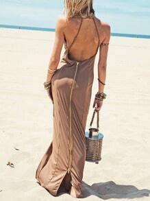 Camel Sleeveless Backless Zipper Maxi Dress