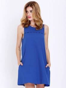 Blue Sleeveless Pockets Casual Dress