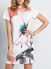 Beige Cap Sleeve Iridescent Flower Print Dress