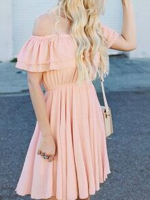 Pink Off The Shoulder Pleated Dress