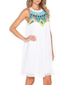 White Sleeveless Geometric Print Petites Dress