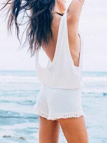 White Sleeveless Backless Tassel Playsuit
