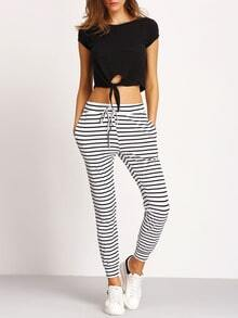 White Black Tie-Waist Striped Pants