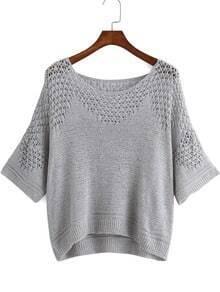 Grey Round Neck Hollow Knit Sweater