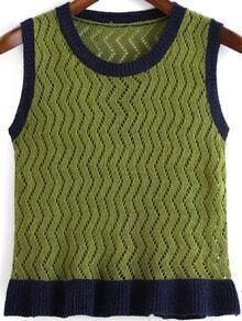 Green Navy Sleeveless Hollow Knit Sweater