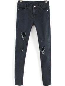 Black Slim Pockets Ripped Denim Pant