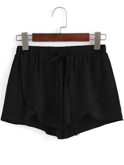 Black Drawstring Waist Asymmetrical Shorts