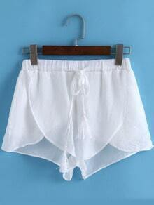 White Drawstring Waist Asymmetrical Shorts
