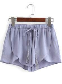 Grey Drawstring Waist Asymmetrical Shorts