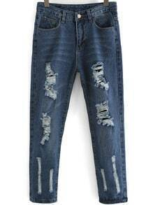 Blue Pockets Ripped Loose Denim Pant
