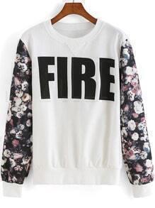 Multicolor Round Neck FIRE Print Sweatshirt