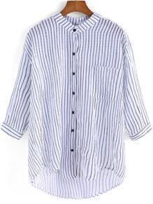 Black White Vertical Stripe Pocket Blouse