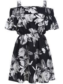 Black Off the Shoulder Floral Flare Dress