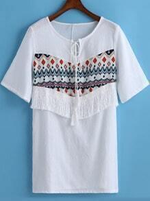 White Tie-neck Floral Tassel Straight Dress