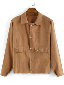 Yellow Lapel Long Sleeve Buttons Pockets Jacket