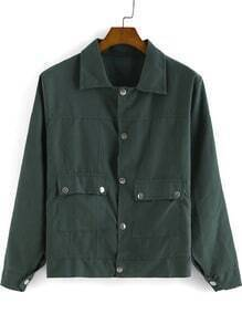 Green Lapel Long Sleeve Buttons Pockets Jacket