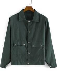 Green Lapel Long Sleeve Buttons Pockets Jacket