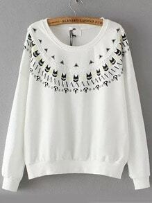 White Round Neck Diamond Cat Print Sweatshirt