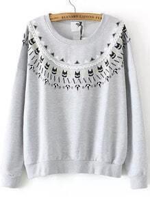 Grey Round Neck Diamond Cat Print Sweatshirt