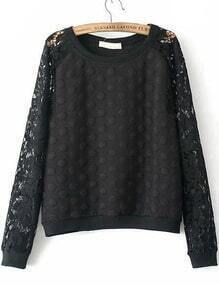 Black Round Neck Lace Polka Dot Sweatshirt