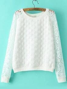 White Round Neck Lace Polka Dot Sweatshirt