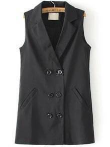 Black Notch Lapel Double Breasted Vest