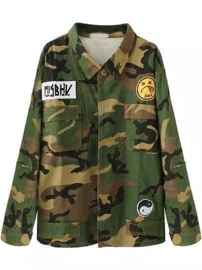 Green Lapel Camouflage Print Pockets Coat