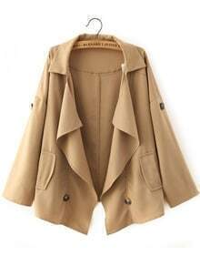 Khaki Lapel Casual Buttons Loose Coat